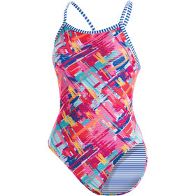 Dolfin Print V-2 Back One Piece Swimsuit Women, basket case